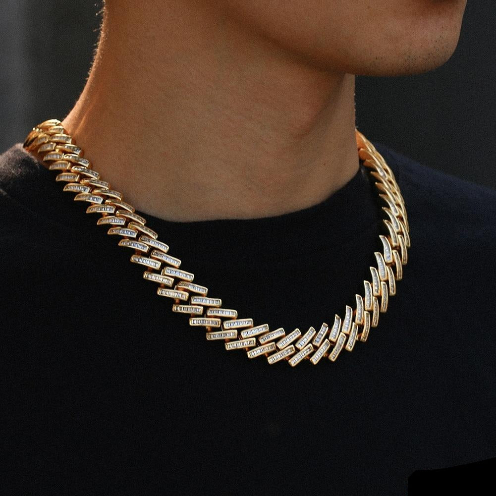 Hip Hop Baguette Chain  Jewelry Set- 14mm Gold Iced Out Paved Rhinestones
