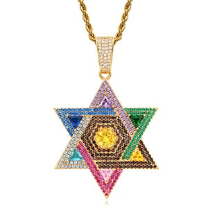 Colorful Star Pendant Necklace- Full Of Crystal Hip Hop Jewelry