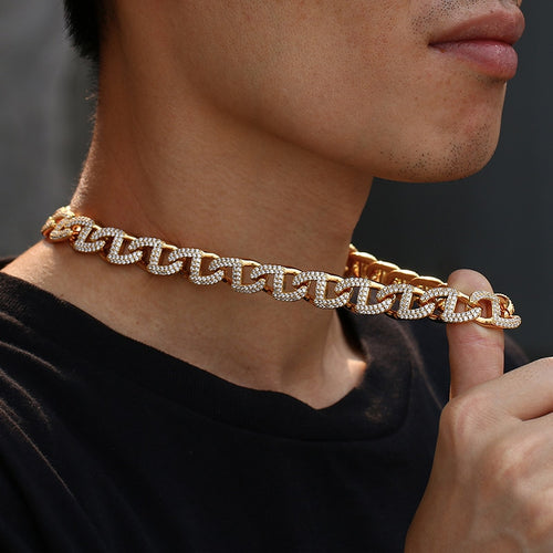 Collier chaîne Hip Hop Iced Out Bling pour homme