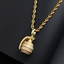 Hip Hop Bling Hand Grenade Bomb Pendant Necklace