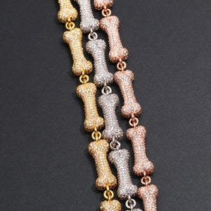 Iced Out Link Chain Bling Dog Bone Necklace