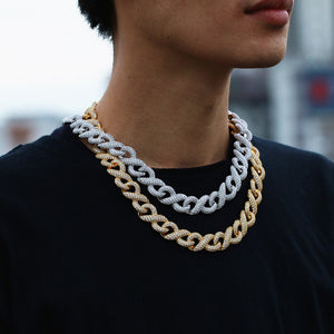 Men's Hip Hop Jewelry Set- 8 Link Miami Iced Out Chain