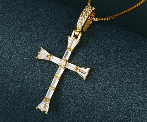 Iced Out Cross Pendant Necklace- Hip Hop Jewelry