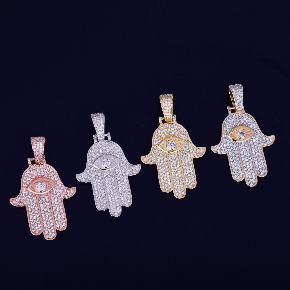 Hip Hop Hamsa Hand Pendant Necklace