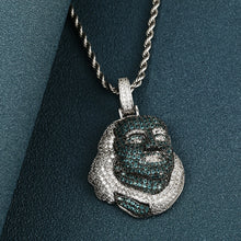 Blue Face Benjamin Head Pendant- Full Of Crystal Iced Out Jewelry