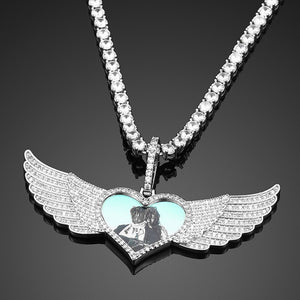 Custom Photo Medallions Necklace- Angel Wing Heart Pendant
