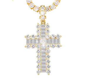 Big Crystal Cross Pendant Necklace- Key of Life Egypt Cross Pendant