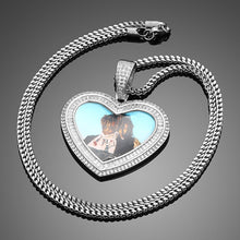 Baguette Custom Made Photo Heart Pendant Necklace