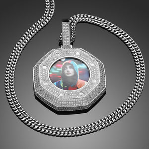 Custom Made Photo Medallions Necklace- Octagon Shape Pendant