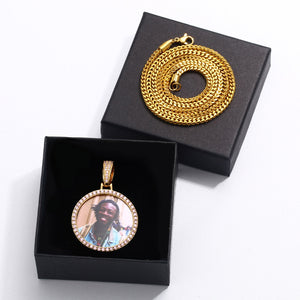 Custom Photo Medallions Pendant Necklace- Pink AAA Cubic Zircon Round Pendant