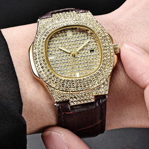 Men's Hip Hop Leather Watch Bracelet- Military Quartz Clock
