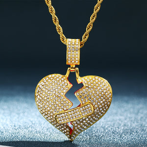 Bling Iced Out Broken Heart Pendant Necklace