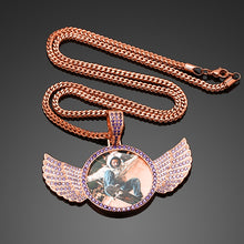 Custom Photo Angel Wings Pendant Necklace- Men's Hip Hop Jewelry