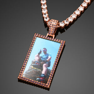 Custom Photo Medallion Rectangle Pendant Necklace With Colorful Cubic Zircon