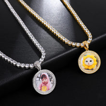 Custom Made Photo Medallions Pendant Necklace with 4mm Tennis Chain