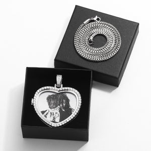 Custom Heart Photo Medallions Pendant Necklace- Valentines Day Gifts for Him