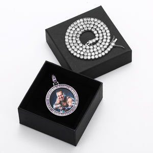 Custom Made Photo Baguette Crystal Medallions Pendant Necklace