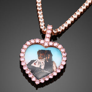 Pink Crystal Custom Photo Heart Pendant Necklace- Men's Hip Hop Jewelry