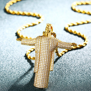 Hip Hop Open Hand Human Pendant Necklace