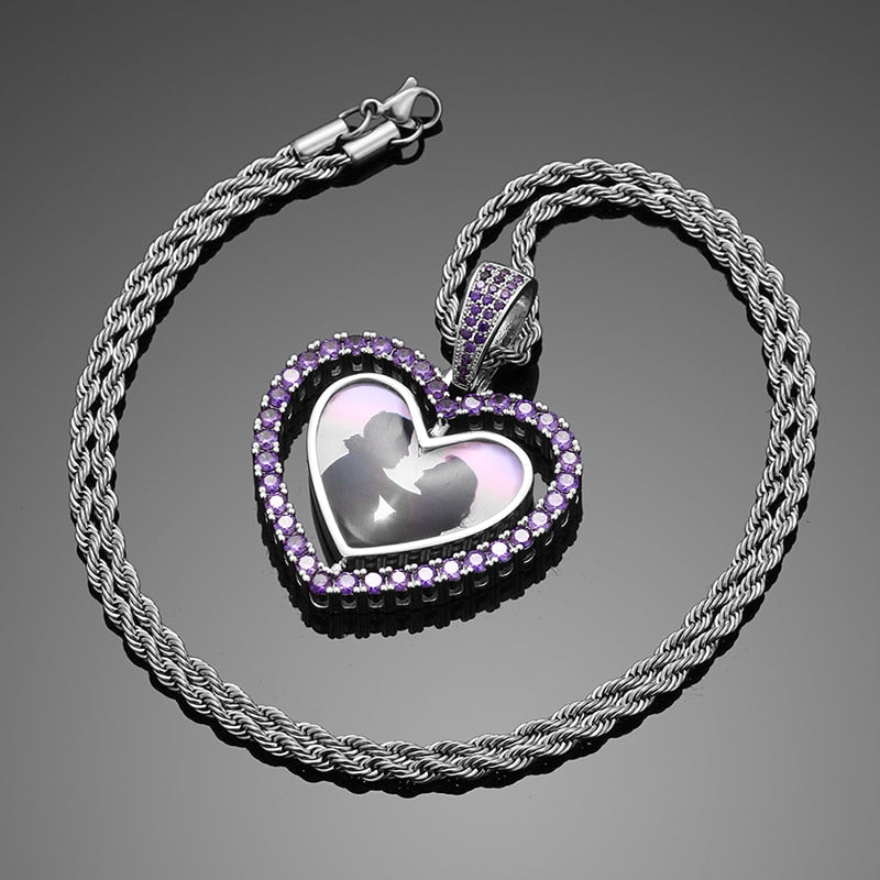 Custom Photo Memory Medallion Necklace- Rotating Double-side Hollow Heart Pendant