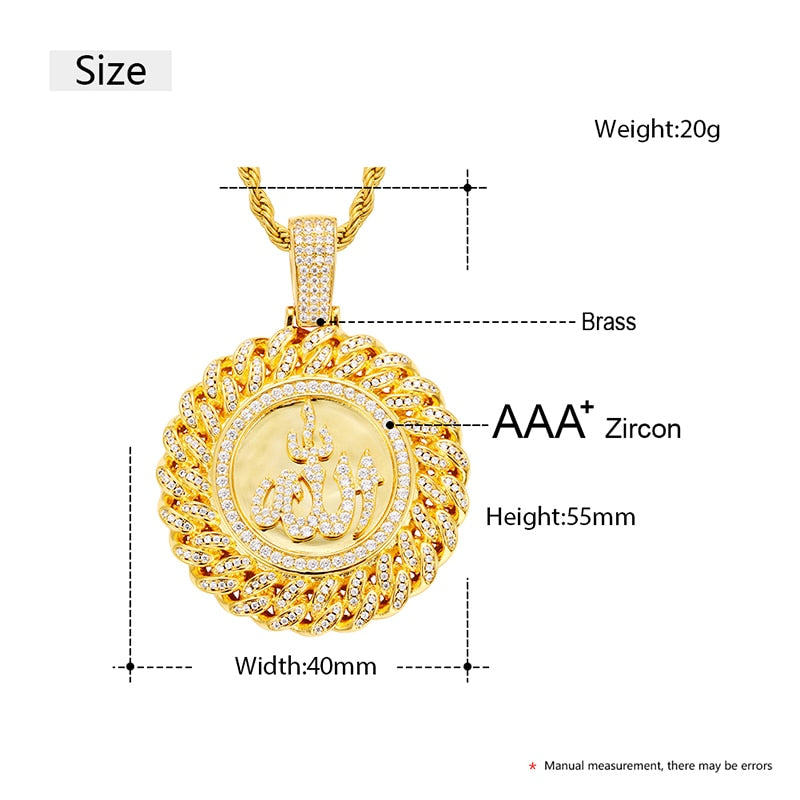 Iced Out Allah Pendant Necklace
