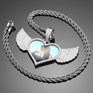 Heart Custom Made Photo Angel Wing Pendant Necklace -Men's Hip Hop Jewlery