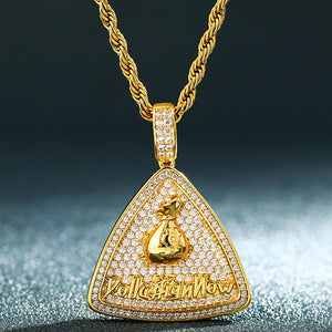 Hip Hop Triangle Pendant Necklace With Money Bag Symbol