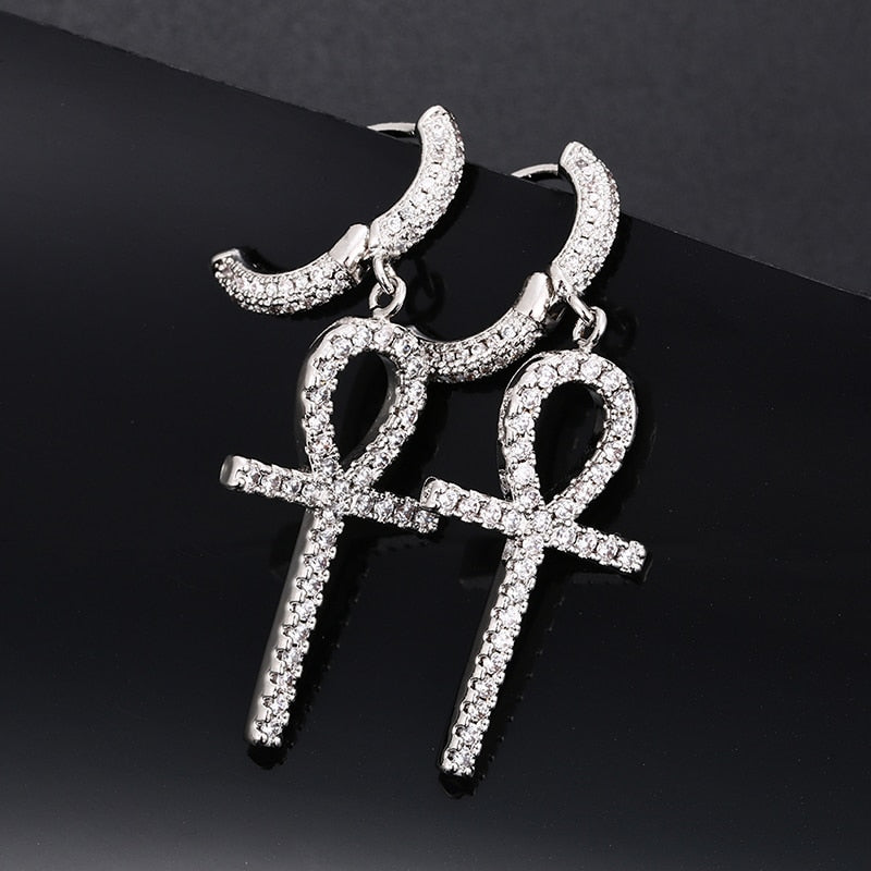 Iced out Ankh Earrings
