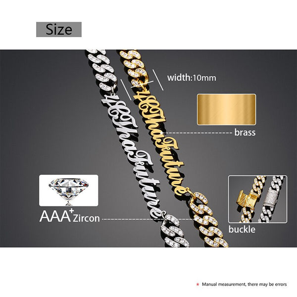 8mm Iced Out Chain Name Necklace