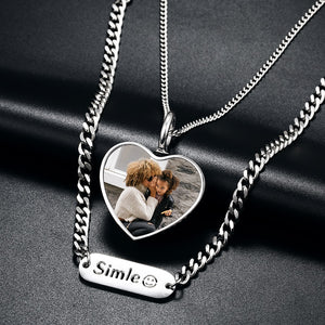 Custom Photo Heart Pendant Necklace-2 Layer Chain with Custom Name