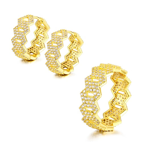 Women's hip Hop Jewlery Set - Cubic Zircon Cuban Ring
