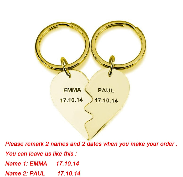 Personalized Keychains- Split Heart Keychain For Couple