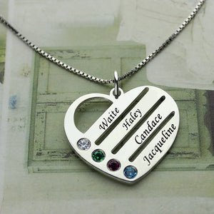 Necklace with Kids Name and Birthstone- Mother's Day Gift