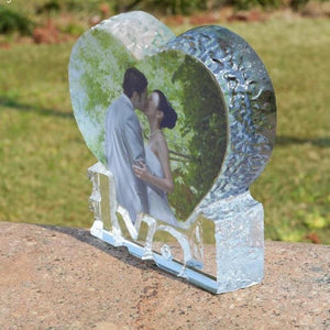 Customized Love Heart Shaped Crystal Photo Frame