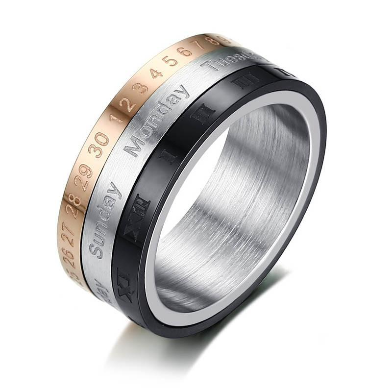 3 Part Roman Numerals Spinner Ring With Date Time Calendar