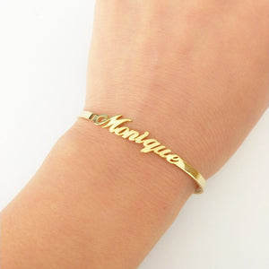 Personalised 18K Gold Plated Name Bracelet Bangle Style