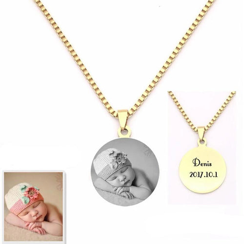 Engraved Photo Pendants Necklaces
