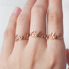 Personalized 18K Gold Plated Name Ring, Adjustable Size
