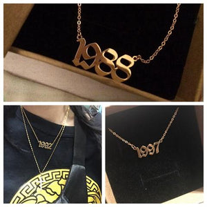 18K Gold Plated Personalized Old English Number Necklace
