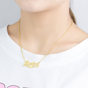 Custom 18K Gold Plated Name Necklace With Heart