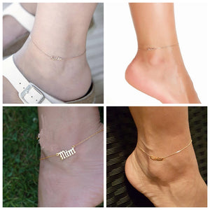 Personalized Anklet Bracelet, 18k Gold Plated