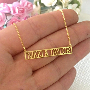 Personalized Bar Necklace with Couples Name/ Roman Numeral-18K Gold Plated