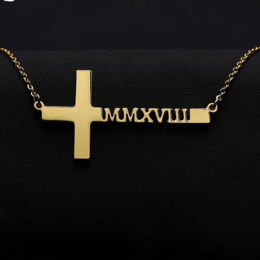 Personalized Cross Necklaces, 18k Gold Plated