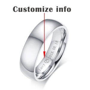 Promise Rings With Name and Date for Couples