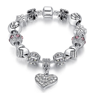 Silver Heart Charm Bracelet for Women