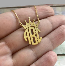 Personalized Crown Name Monogram Necklace