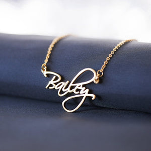 Custom Cursive Name Necklace 18K Gold Plated