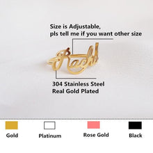 Custom Name Rings 18k Gold Plated