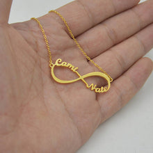 Custom Infinity Name Necklace 18K Gold Plated - Two Name Promise Charm