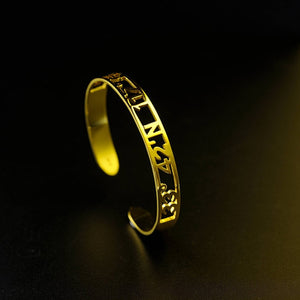 18K Gold Plated Cuff Bracelet with Name, Coordinates, Roman Numeral